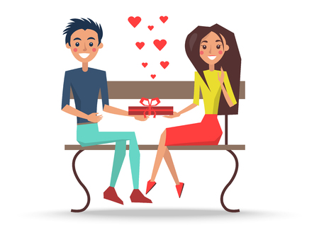 Boy and Girl Sitting on Wooden Bench Vector illustration isolated on white background.
