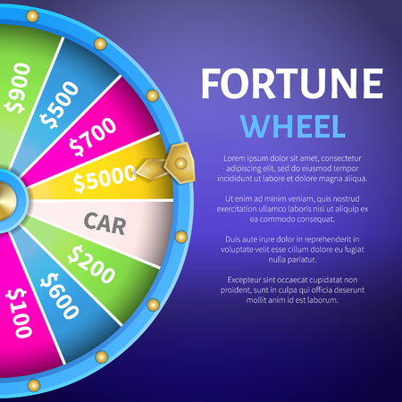 Fortune wheel poster with place for text and full length of entertainment round gambling machine with spin pointing on 5000 dollars prize vector