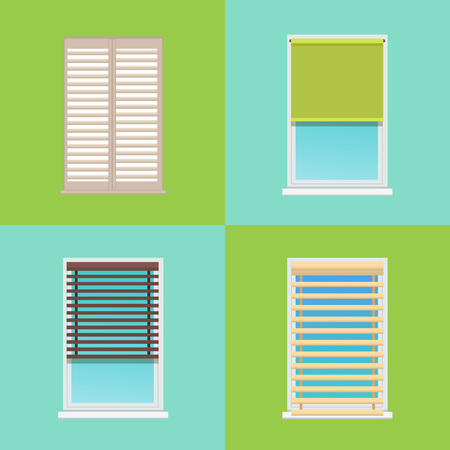 Four patterns of various multicolored jalousies vector illustration with rectangular blinds fixed on grey and white frames isolated on green and blue