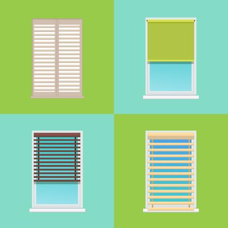 Vier patronen van verschillende veelkleurige jaloezieën vector illustratie met rechthoekige jaloezieën vast op grijze en witte frames geïsoleerd op groen en blauw