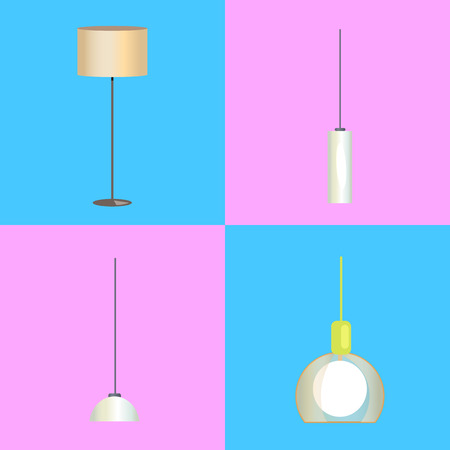 Modern stylish floor lamp and minimalistic chandeliers in beige and white plafonds isolated cartoon vector illustrations set on bright background.