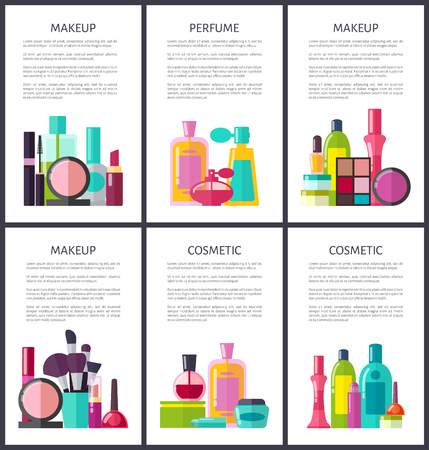 Makeup and perfume, cosmetic products, collection of text sample and beauty items, objects set vector illustration, isolated on white background