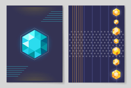 Bright shiny six-pointed crystals of blue and yellow colors vector illustrations on futuristic posters with dark background and geometric patterns. Illustration