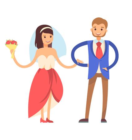 Frau mit Schleier und tragender Anzug des Mannes, Tradition des ersten Tanzes des Jungvermählten, des liebevollen Paares, der Braut und des Bräutigams, lokalisiert auf Vektorillustration Standard-Bild - 95990941