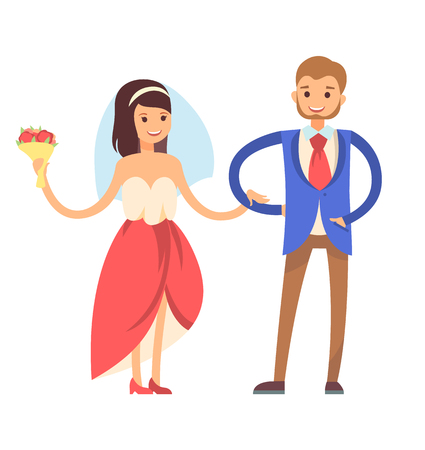 Woman with veil, and man wearing suit, tradition of first dance of newlywed, loving couple, bride and groom, isolated on vector illustration