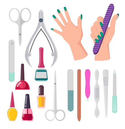 Hands with painted fingernails and manicure instruments, nail polish and file, scissors and tools, vector illustration isolated on white background Illustration