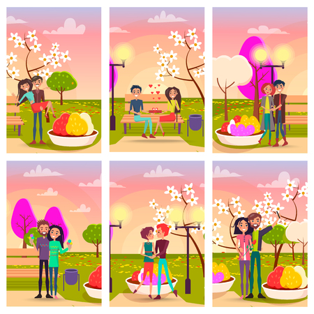 Six Cards of Loving Couples at Flowering Spring