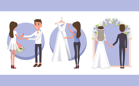 Proposal and Wedding Day, Vector Illustration