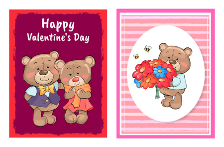 Happy Valentines Day Poster Set Teddy with Bouquet