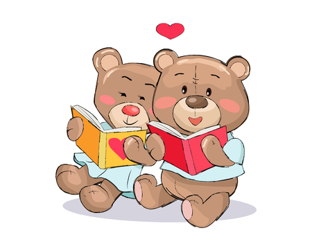 Teddy Bears Read Books with Heart Sign Vector