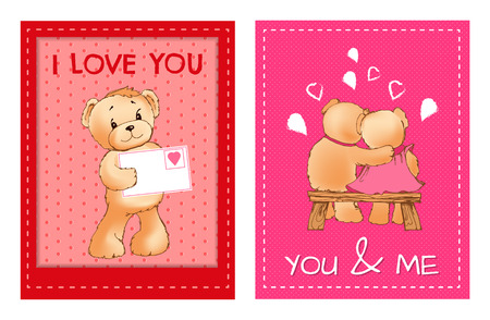 Valentines Day Postcards with Cute Fluffy Bears