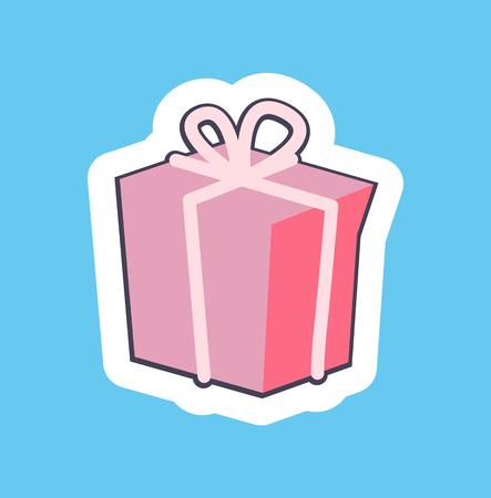 Nice Pink Gift Box Banner Vector Illustration 向量圖像