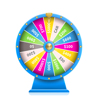 Fortune wheel of luck automatic gambling machine in blue framing vector illustration isolated on white background. Ilustrace