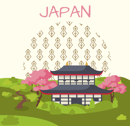 Japan Promotional Poster with Traditional House Illustration