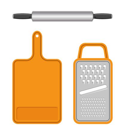 Set of Kitchen Equipment Isolated on White Field Illustration