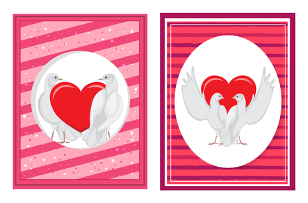 White Doves Couples with Heart Illustrations Set Illustration