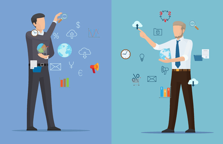 Two online business posters vector illustration with two businessman with icons of Earth, clocks and clouds, bulb and percents, letters and schedules.