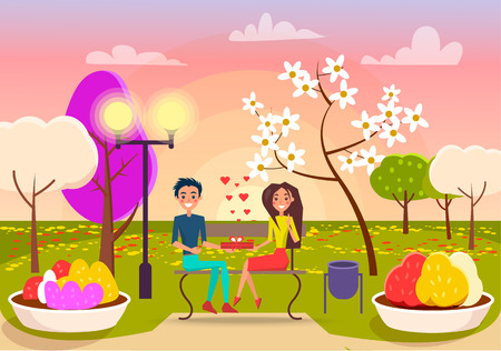 Smiling boy gives gift in red box to pretty girl on spring park background vector illustration. Couple in love sits on dark bench.