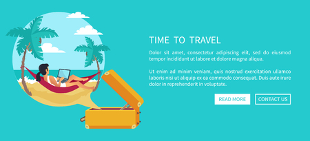 Time to Travel Relaxing Woman Vector Illustration