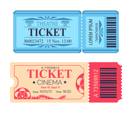Theatre and Cinema Tickets Set with Emblem Icons