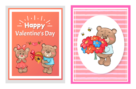 Happy Valentines day posters set teddy with bouquet of flowers, and boyfriend bear makes present to his girlfriend hive decorated by bow vector