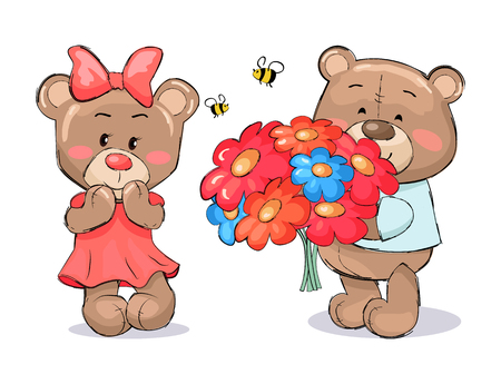 Male teddy bear in blue t-shirt holding hive full of honey and smile, bees flying with red heart above him, present for girlfriend vector on white