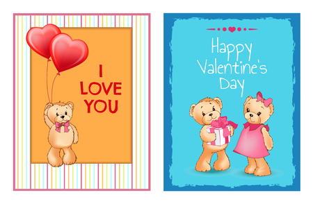 I Love You and Me Teddy Bears Vector card design