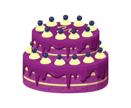 Big lilac pie with lot of blueberries on sweety buttercream vector illustration of huge pretty cake with tasty frosting isolated on white background