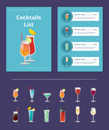 Cocktail List Advertisement Poster with Prices Stock Illustratie