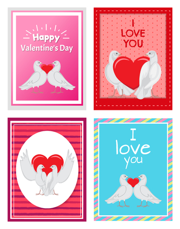 White Doves Couples with Heart Illustrations Set card design Фото со стока - 96361228
