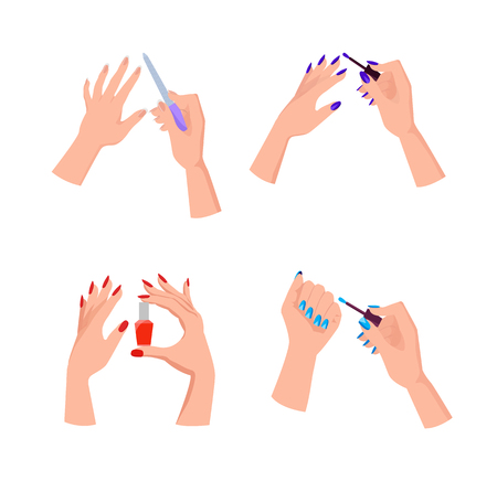 Hands with Bright Neat Manicure Illustrations Set. Illustration