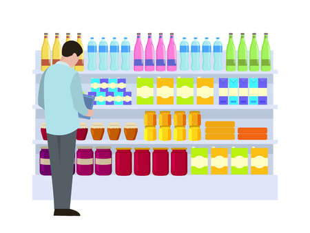 Man at Supermarket Choice Vector Illustration Illustration