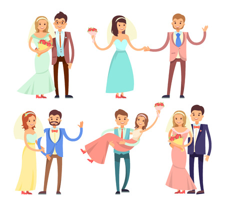 Newlyweds Dancing and Have Fun Vector Illustration Illustration