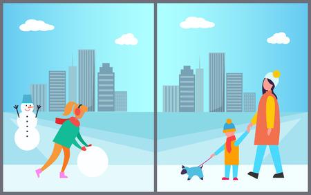 Frau , die Schneemann Mutter und Sohn zu machen Standard-Bild - 96083392