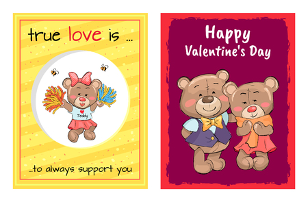 Happy Valentines Day True Love is Always Support. Stock Vector - 96083397