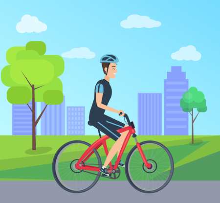 Male with Bike in Special Uniform City Park Vector Illustration