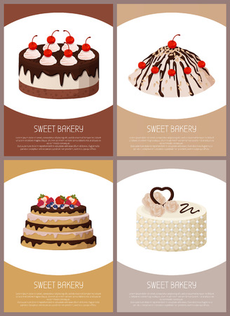 Cakes Variety Page Online Shop Vector Illustration.