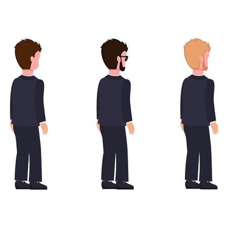 Side View Males Flat Style, Man Constructor Set. Ilustração