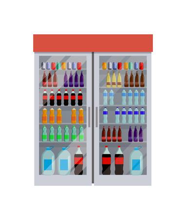 Fridge with Bottles of Water Vector Illustration Ilustração