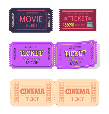 Set of Movie Cinema Tickets Admit One Vector Icons Illustration