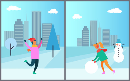 Man in pink sweater enjoys snowfall, woman in earphones makes snowman in wintertime vector illustration poster on cityscape background with skyscrapers Standard-Bild - 96083222
