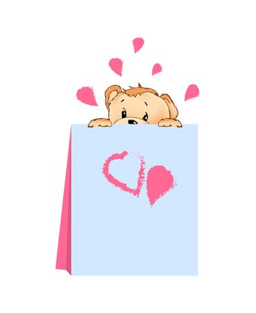 Teddy Bear Hiding Behind Card Vector Illustration