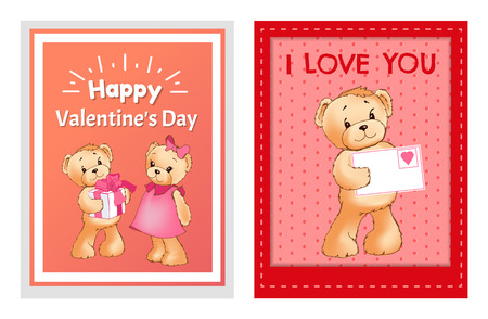 valentine's day cards set with teddy bears and text i love you and happy valentine's day. vector illustration on white background. 版權商用圖片 - 96085738