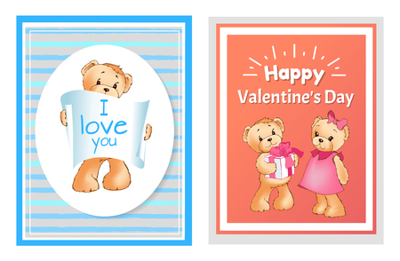 set of valentines day cards with teddy bears and typography, i love you and happy valentines day. Vector illustration. 向量圖像