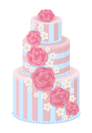 Wedding Cake Decorated with Glaze Roses Stock Vector - 96198603