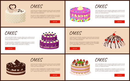 Cakes Variety Page Online Shop Illustration