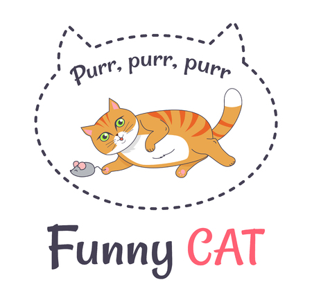 Funny feline Makes Sound Purr Playing with Grey Mouse Illustration
