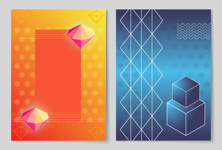 Bright Luminous Diamonds and Geometric Shapes  design Иллюстрация
