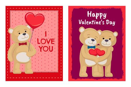 Conception de cartes de Saint Valentin avec des ours Vecteurs