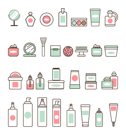 Decorative and Skincare Cosmetics Illustration set